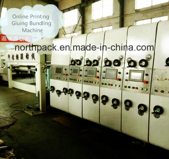 Online bottom folding gluing with auto printing die-cutting machine and auto bundling machine