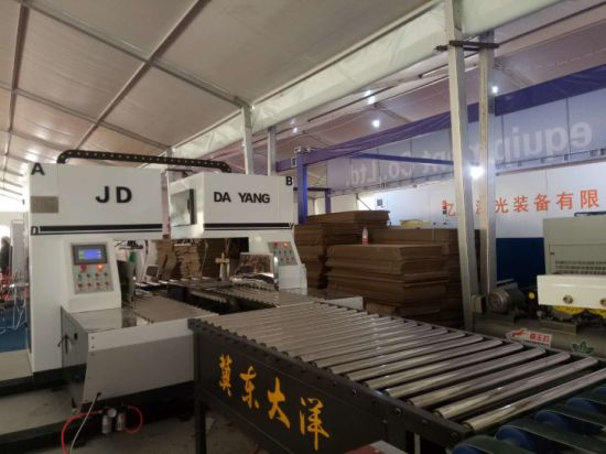 Automatic bottom folding gluing with flexo printing slotting die-cutting and auto bundling machine